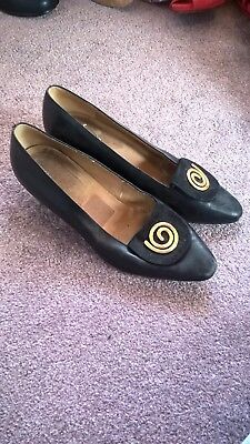 Vintage 1940s 1950s black heeled shoes pin up rockabilly size 5