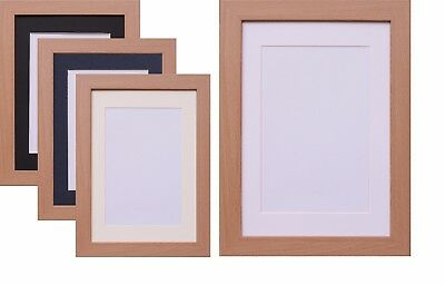 Beech Photo Picture Frame Poster Frame & Mount White Black Ivory Blue