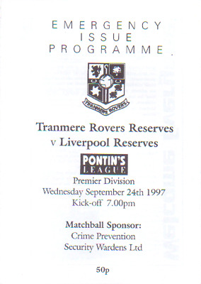 Tranmere Rover Reserves V Liverpool Reserves 24/9/1997