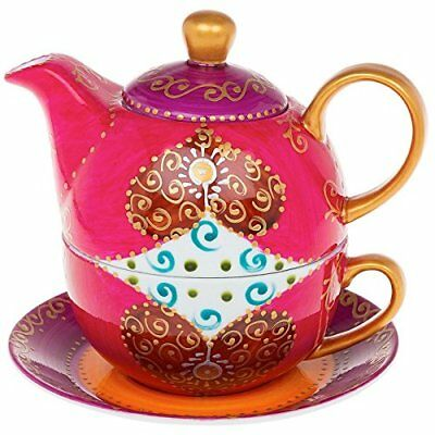 Shades of Pink with Gold Detail Tea For One Tea Pot Cup and Saucer Set
