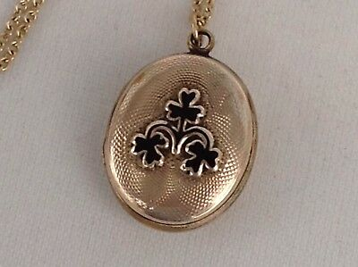 Victorian 9Ct Back And Front Gold Double Picture Locket With 9Ct Gold Chain