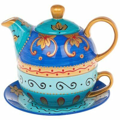 Shades of Blue with Gold Detail Tea For One Tea Pot Cup and Saucer Set