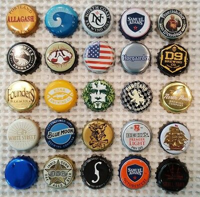 Beer Bottle Caps Lot of 25 All Different Microbrewery Hard to Find Craft (1)