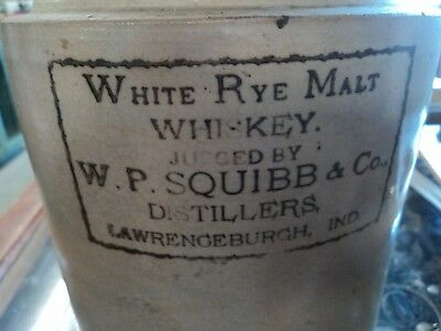 Old Antique White Rye Malt W.p Squibb Lawrenceburgh Indiana Whiskey Jug Crock