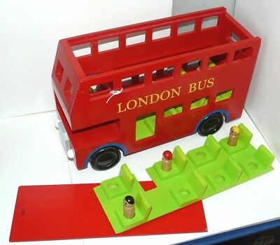 "GIANT 36cm (15"") All Wood, Childs play LONDON BUS with slide off roof & figures"