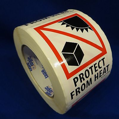 """Protect From Heat 3""""x4"""" - Packing Shipping Handling Warning Label Stickers"""