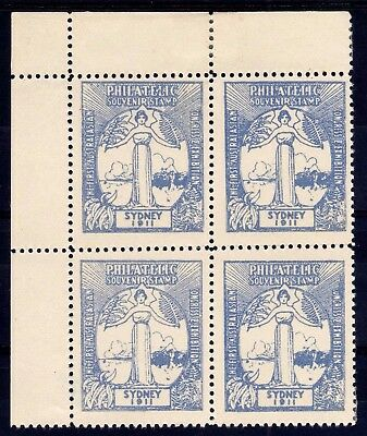 AUSTRALIA 1911 SYDNEY PHILATELIC CONGRESS EXHIBITION SOUVENIR STAMP, BLUE BLx4