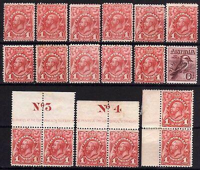 AUSTRALIA 1913-14 ENGRAVED 1d HINGED MINT SELECTION, 17 STAMPS, PLUS 6d, SG 17-9