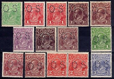 Australia Kgv Heads Officials Os Perfins Hinged Mint Selection, 14 Stamps