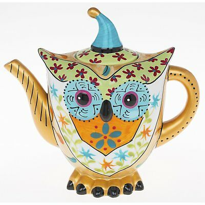 Multi Coloured Ceramic Owl Tea Pot with Gold Detail on the Handle and Spout