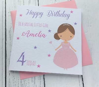 Personalised Cute Girls Princess Birthday Card -Daughter Granddaughter Niece