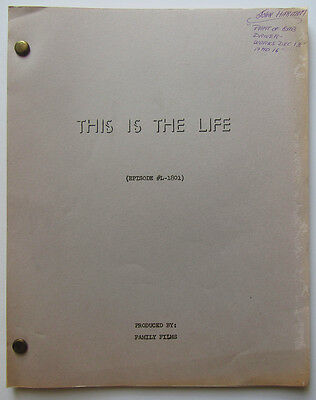 "Vintage ""This is the Life"" script 3rd Draft 8/22/68 ""Alibi"""