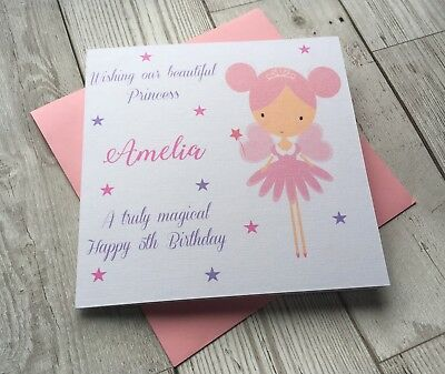 Personalised Cute Girl Fairy Princess Birthday Card Daughter Niece Granddaughter