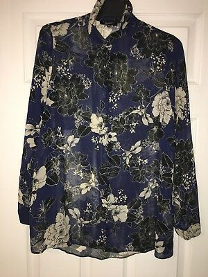 New Look Floral Blue / Black Maternity Shirt Blouse Size 12