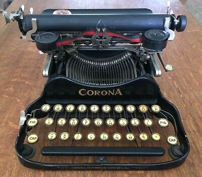 Vtg Antique Corona Folding Typewriter No. 3 Working w/ Case Cleaning Supplies