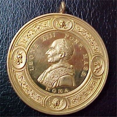 Leo XIII (1878-1903), Beautiful Gilt Papal Medal by Stefano Johnson