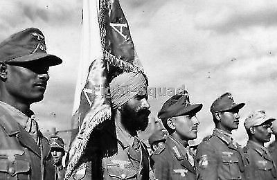 WW2 Picture Photo 1943 German sponsored Azad Hind troops in review 2253