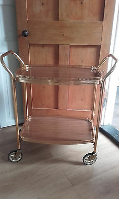 Large vintage/retro two tier hostess trolley - gold