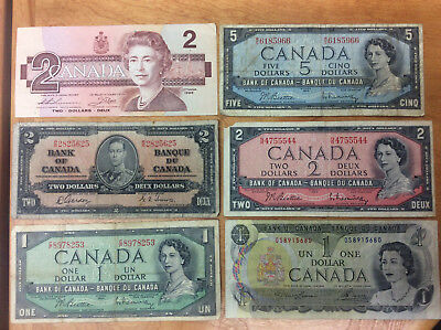 $13 Face In Bank Of Canada Notes $1-1954,$1-1973,$2-1937,$2-1954,$2-1986,$5-1954