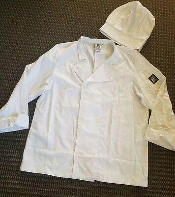 Mens Chef Jacket Coat and Hat Size Medium