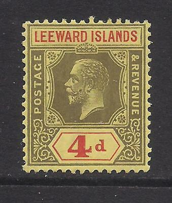 LEEWARD ISLANDS  1922  4d black & red on pale yellow  SG52  MM