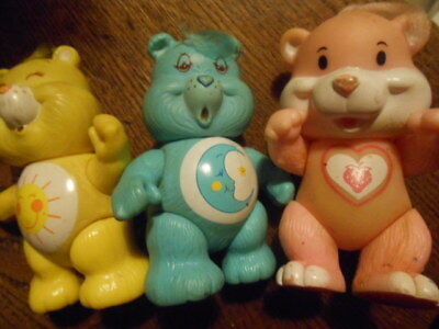 3 Vintage Squidgy Plastic Care Bears