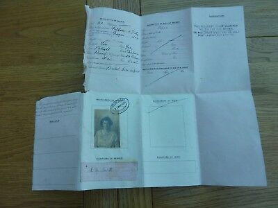 1919 Original British Passport Document To France Mrs L M Scott