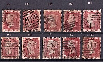 1d red plates SG.43/44 Ten good used. See scan.