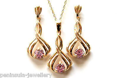 9ct Gold Fancy Pink CZ Pendant and Drop Earring Set Gift Boxed Made in UK