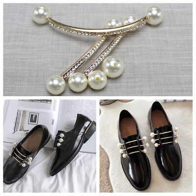 1 Pair Pearl Shoe Buckles Women Vintage Pointed Boots Charms Shoes Clips Decor