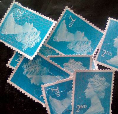 100 x 2nd class unfranked postage stamps off, paper,no gum