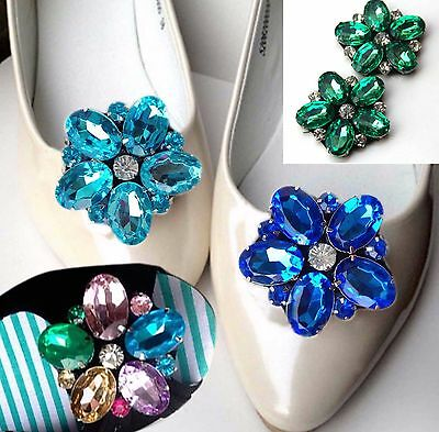 A Pair Color Flower Shoe Clips Rhinestone Crystal Wedding Bridal Boots Charms