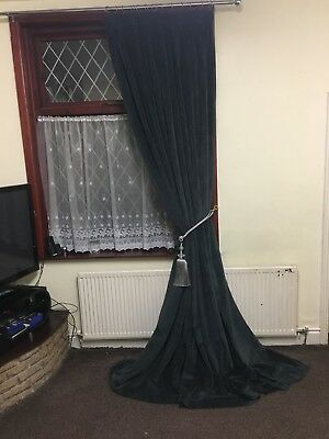"Pair Of DARK GREY COTTON Blend Velvet Curtain 63"" Wide X120"" DropTapetop Heading"