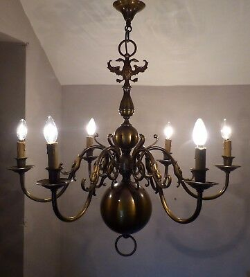 Large Vintage Flemish Brass Chandelier, Mythical Creatures & Eagle, Lots of Age