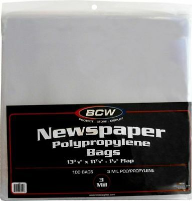 BCW Polypropylene Newspaper Bags 13 3/8 X 11 7/8 X 1 1/2 Flap 100 Pack 40% Off