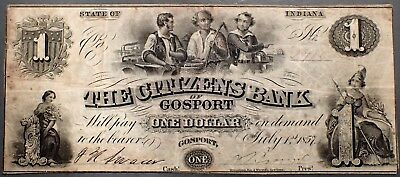 1857 $1 CITIZENS BANK Gosport IN SIGNED Note  Grade: F A3305