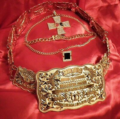 Elvis Gold Metal Eta Las Vegas Belt Set To Include Replica Jewellery