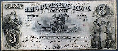 1857 $3 CITIZENS BANK Gosport IN SIGNED Note  Grade: F A3306