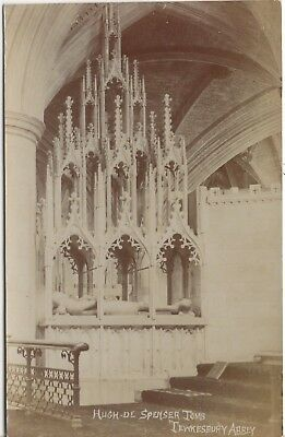 The Tomb of Hugh De Spenser Tewkesbury Abbey Old Photo Postcard