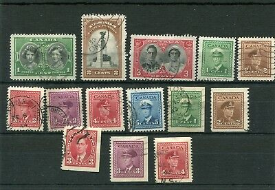 Canada. 14 -- 1939   Used Stamps On Stockcard