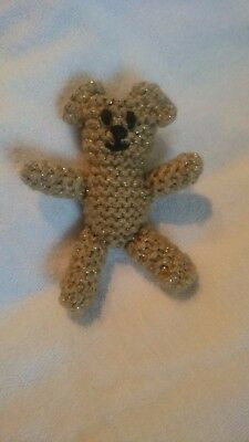 Handmade, Hand Knitted Sparkly Gold Coloured Baby Teddy Bear