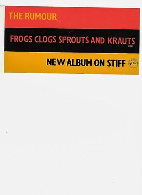 Stiff Records Australian Promo sticker The Rumour Frogs Clogs Sprouts and Krauts