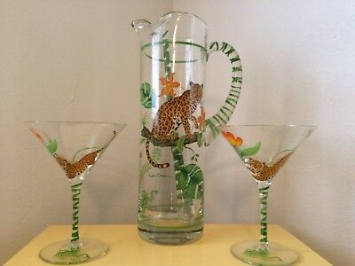 Martini pitcher, two glasses and stirring rod with Lynn Chase design