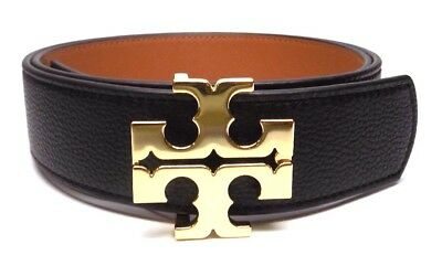 "New Tory Burch 1.5"" Black Tigers Eye Brown Leather Reversible Logo Belt"