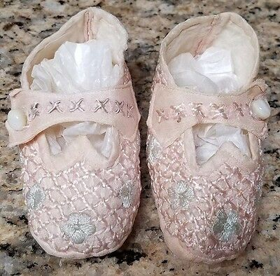 Vintage Pink Silk Hand Embroidered Baby Booties W/ Mop Buttons