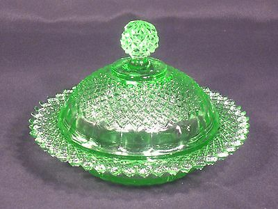 Vintage Miss America Pattern Butter Dish Reproduction Green
