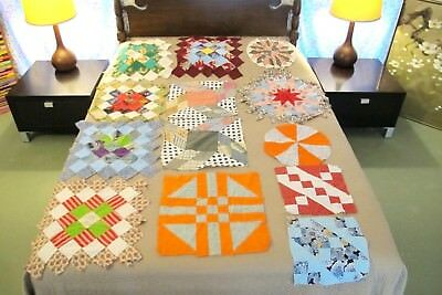 Lot of 13 Vintage Cotton Hand & Machine Sewn SAMPLER QUILT BLOCKS, Many Patterns