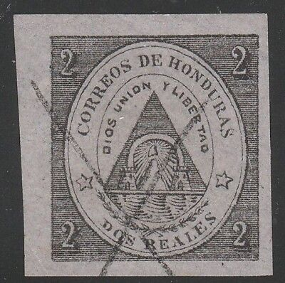 HONDURAS STAMP 1865 SC# 2 A1 2r black, pink COAT of ARMS    Forgery?