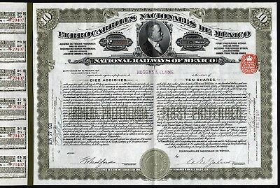 1921 Ferrocarriles Nacionales de Mexico - US$1000 Gold Coin, UNC with coupons