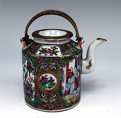 Lovely Antique Chinese Rose Medallion Teapot